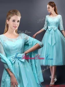 Romantic Aqua Blue Scoop Half Sleeves Juniors Dress with Bowknot