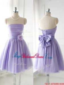 Simple Handcrafted Flower Tulle Lavender Juniors Bridesmaid Dress with Strapless