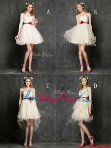 Most Popular Champagne Mini Length Bridesmaid Dress with Belt