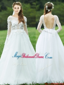 Pretty Applique White Backless Juniors Bridesmaid Dress with Long Sleeves