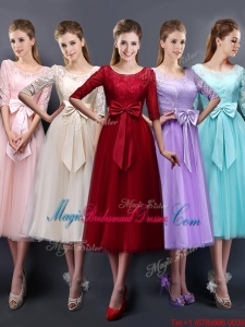 Wonderful See Through Scoop Half Sleeves Bridesmaid Dress with Bowknot