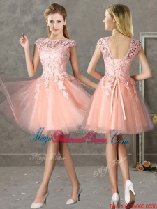 New Style Bateau Peach Short Bridesmaid Dress with Lace