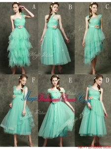 Exclusive Hand Made Flowers Ankle Length Bridesmaid Dress in Apple Green