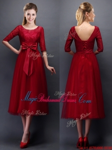 Gorgeous Scoop Half Sleeves Bowknot Bridesmaid Dress in Wine Red