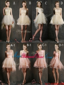 Hot Sale Mini Length Tulle Bridesmaid Dress with Belt