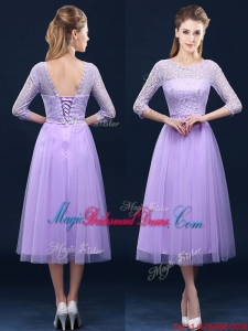 Latest Half Sleeves Tea Length Laced Bridesmaid Dress in Lavender