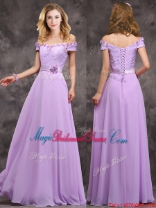 Latest Off The Shoulder Long Bridesmaid Dress with Hand Made Flowers