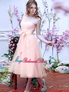 Luxurious One Shoulder Bridesmaid Dress with Bowknot and Hand Made Flowers