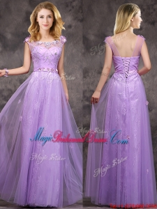 New Arrivals Beaded and Applique Long Bridesmaid Dress in Lavender