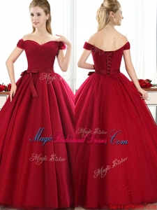 New Arrivals Off the Shoulder Wine Red Bridesmaid Dress with Bowknot