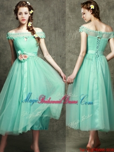 Romantic Off the Shoulder Cap Sleeves Bridesmaid Dress with Appliques and Hand Made Flowers