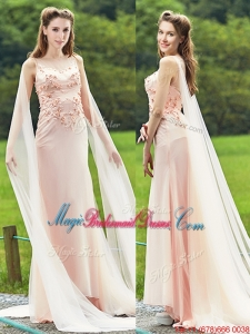 Unique Bateau Watteau Train Light Pink Bridesmaid Dress with Applique