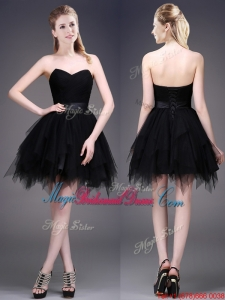 Best Selling Black Short Bridesmaid Dress with Ruffles and Belt