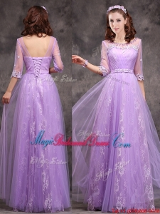 Best V Neck Brush Train Bridesmaid Dress with Belt and Butterfly Appliques