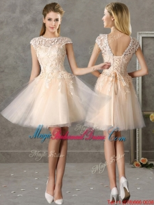 Classical Bateau Cap Sleeves Lace Bridesmaid Dress in Champagne