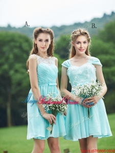 Classical Mint Short Bridesmaid Dress with Appliques and Belt