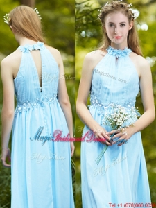 Discount Halter Top Light Blue Bridesmaid Dress with Appliques