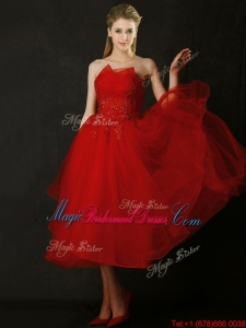 Elegant Tea Length Applique Red Bridesmaid Dress with Asymmetrical Neckline