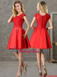 Gorgeous Scoop Cap Sleeves Red Bridesmaid Dress with Lace and Bowknot