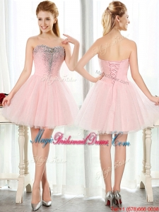 Lovely Beaded and Sequined Short Bridesmaid Dress in Baby Pink