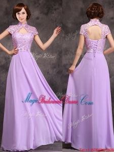 Low Price High Neck Cap Sleeves Lavender Long Bridesmaid Dress