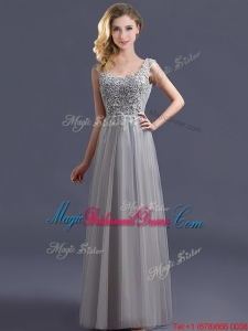 Most Popular Scoop Grey Long Bridesmaid Dress with Appliques