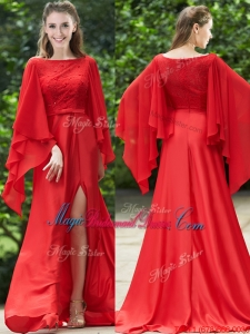 Pretty Bateau Long Sleeves Red Bridesmaid Dress with Beading and High Slit