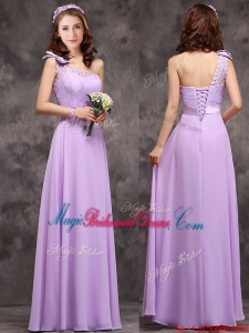 Pretty One Shoulder Lavender Bridesmaid Dress with Applique Decorated Waist