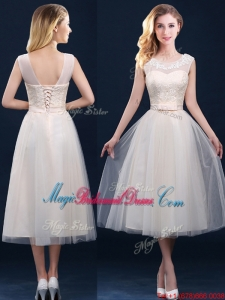 Best Selling See Through Champagne Bridesmaid Dress with Appliques and Belt