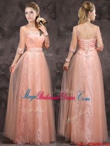 Exquisite See Through Applique and Laced Long Bridesmaid Dress in Peach