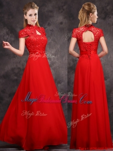 New Arrivals Applique and Laced High Neck Bridesmaid Dress in Red