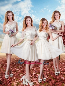 2016 Elegant Short Bridesmaid Dresses with Lace in Champagne
