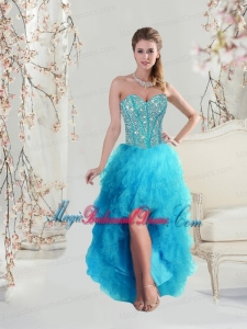 2016 Beautiful Sweetheart Beaded and Ruffles Turquoise Bridesmaid Dresses High Low