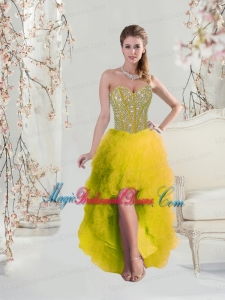 2016 Classical High Low Sweetheart Yellow Bridesmaid Dresses with Beading and Ruffles