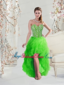 2016 Inexpensive High Low Sweetheart Spring Green Bridesmaid Dresses with Beading