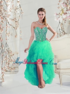 Comfortable High Low Beaded and Ruffles Apple Green Bridesmaid Dresses for 2016