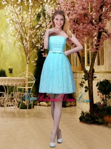 Elegant A Line Laced Bridesmaid Dresses with Belt in Aqua Blue
