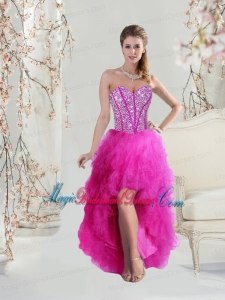 Inexpensive High Low Sweetheart Fuchsia Bridesmaid Dresses with Beading and Ruffles