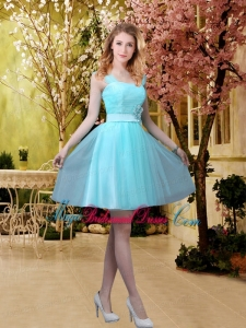 Pretty Aqua Blue Short Bridesmaid Dresses with Belt