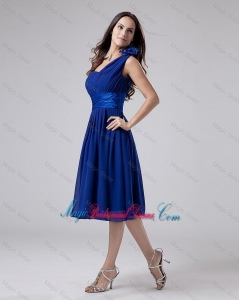 2016 Wonderful One Shoulder Belt Short Bridesmaid Dress in Royal Blue