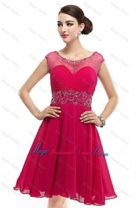 Beautiful Mini Length Scoop Hot Pink Bridesmaid Dresses with Cap Sleeves