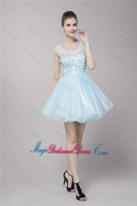 Fashionable Scoop Light Blue Bridesmaid Dresses with Beading