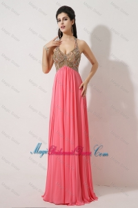 Gorgeous Halter Top Brush Train Bridesmaid Dresses in Watermelon Red