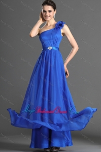 Luxurious Beading and Hand Made Flowers Bridesmaid Dresses in Blues