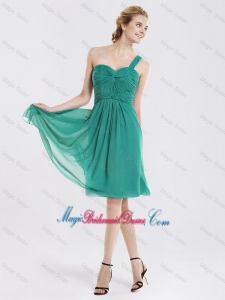 Popular Short One Shoulder Bridesmaid Dresses with Ruching