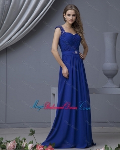 2016 Perfect Straps Beading Long Bridesmaid Dresses in Royal Blue