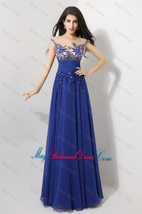Discount Cap Sleeves Bridesmaid Prom Dresses with Appliques and Beading