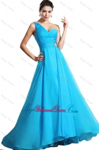 Elegant One Shoulder Aqua Blue Bridesmaid Dresses with Brush Train