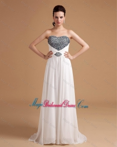 New Arrival Sweep Train Beading Bridesmaid Dresses in White