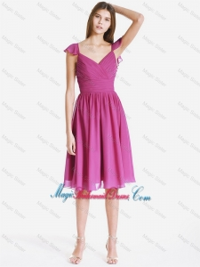 Perfect V Neck Ruching and Pleats Short Bridesmaid Dresses